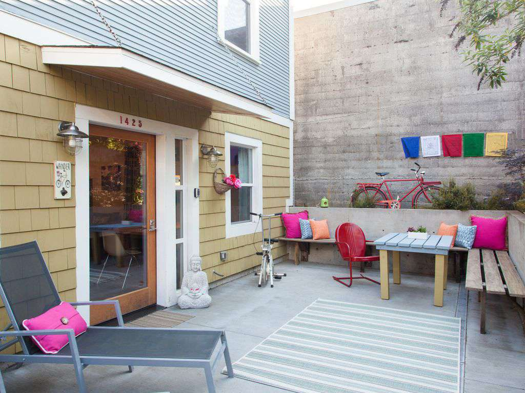 A great private patio is a perfect hang out with tables and lounge chairs.
