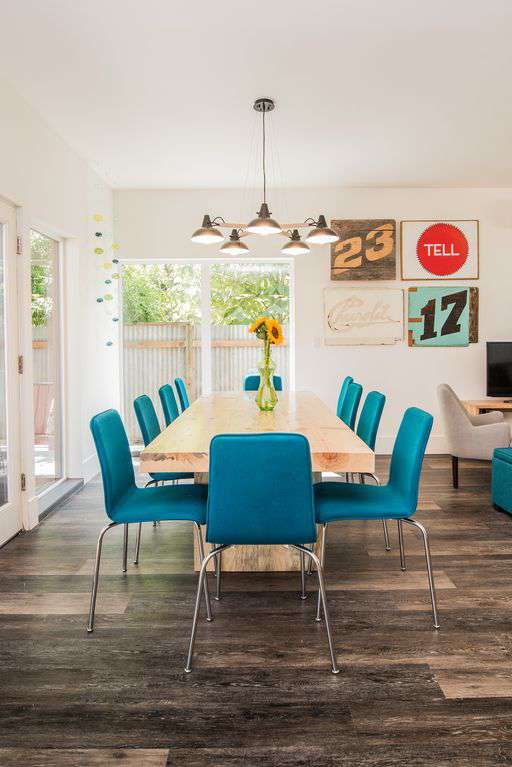 Imagine your friends and family gathered around this gorgeous wood table.