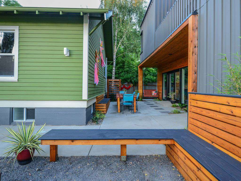 There is private outdoor areas for both house, and a shared side yard.