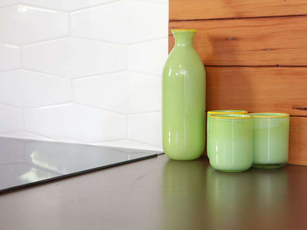 Locally made products, like these tiles and counters are what fill the house.