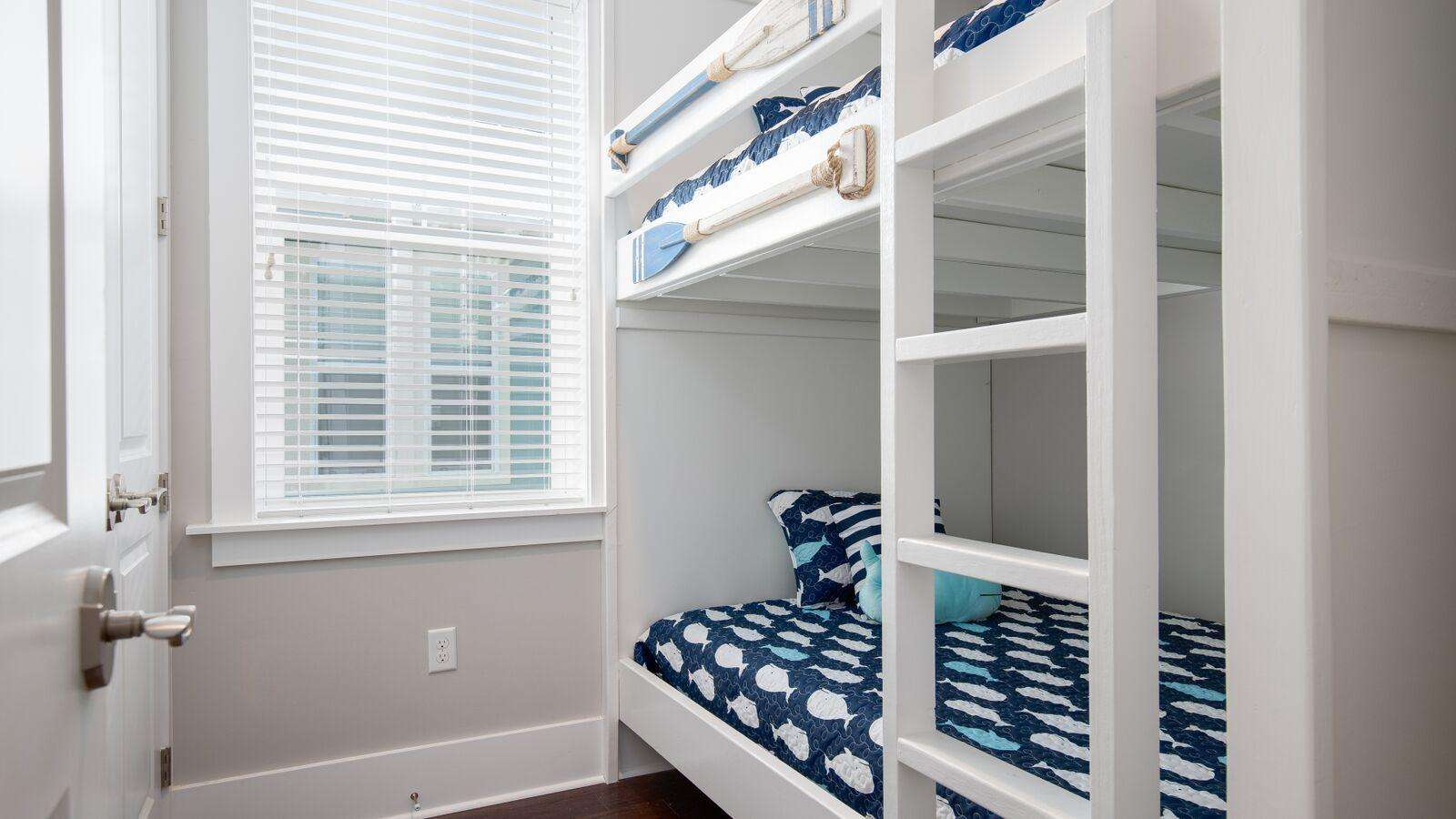 2nd floor bunks, across from hall bath