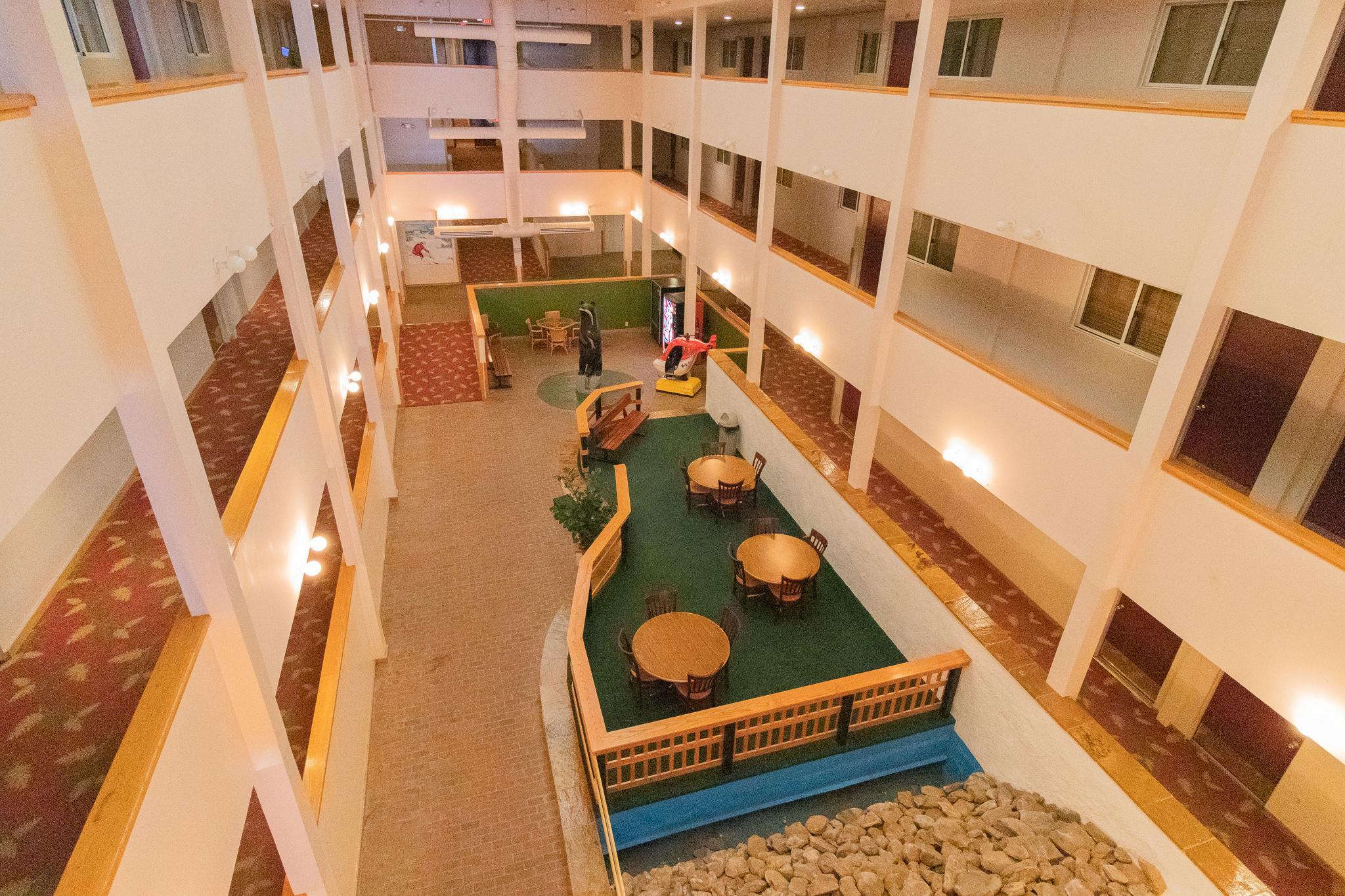 Enjoy Mountain Lodge's many common areas and atrium - spacious!