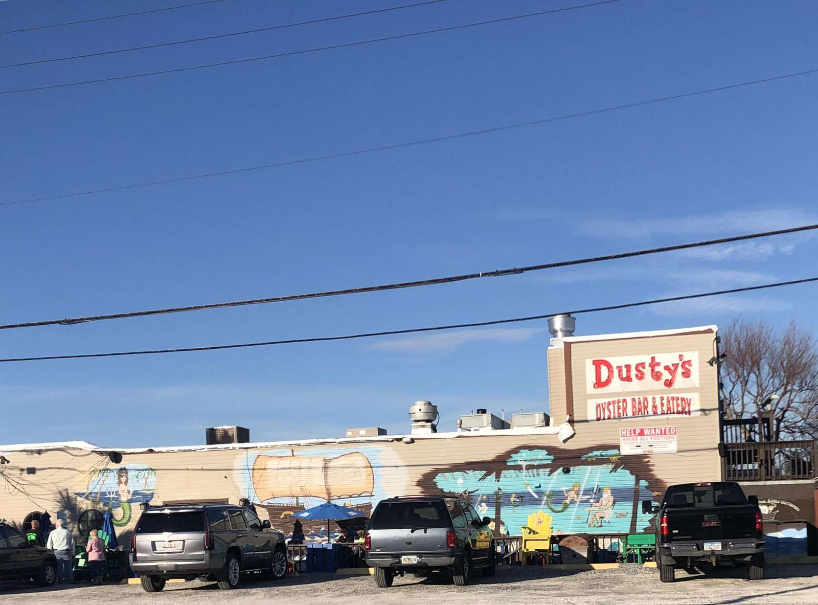 Dusty oyster bar with fresh seafood is across the street