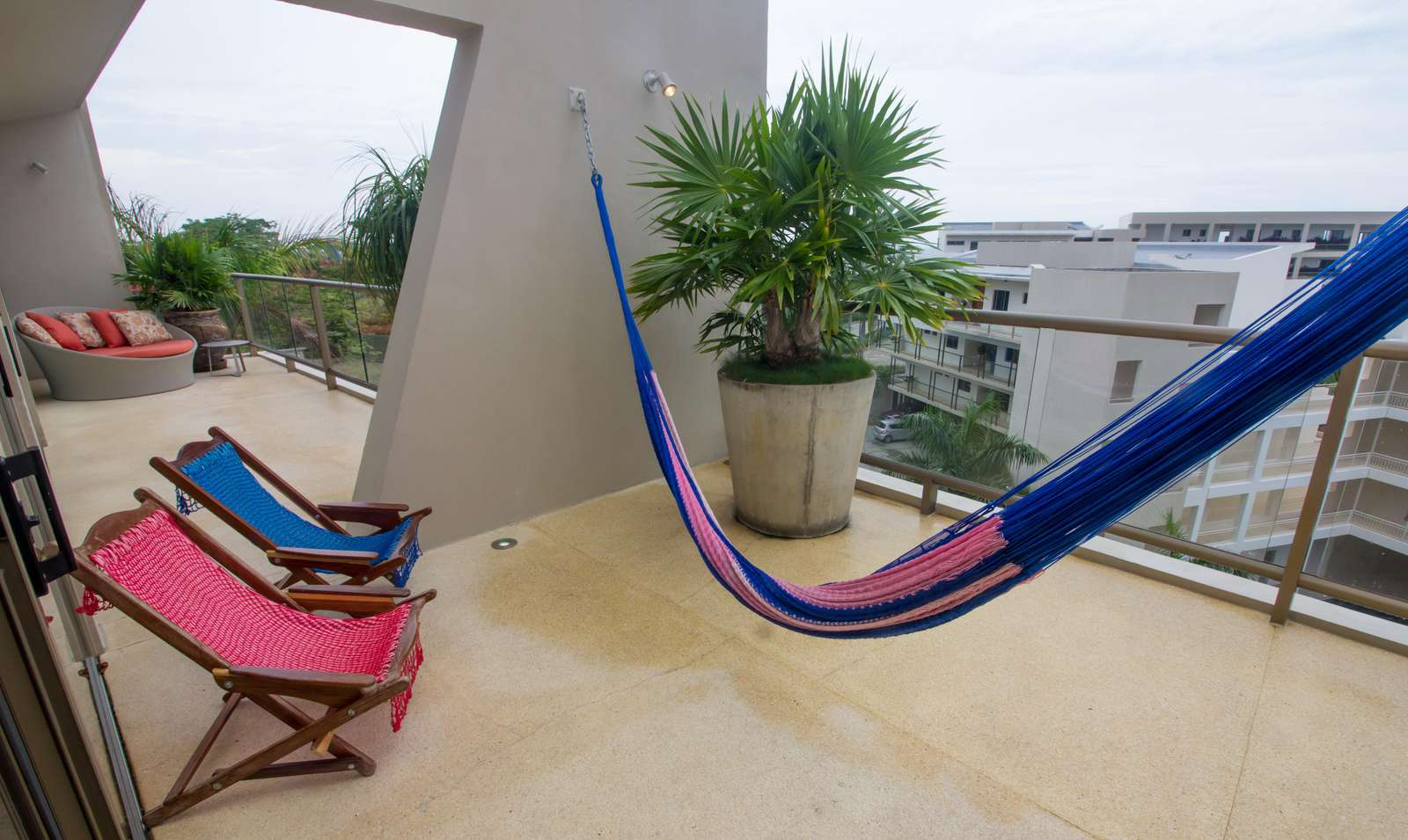 Relax in the hammock or lounge chairs on the terrace