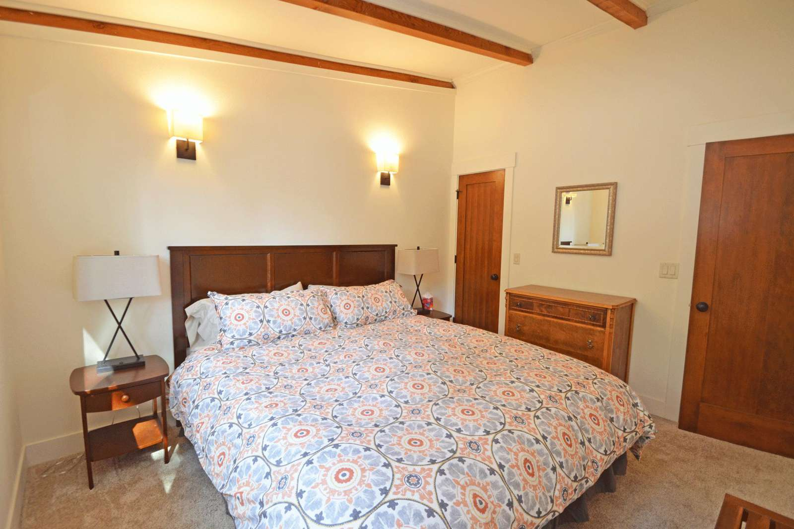 King size bed with down comforter
