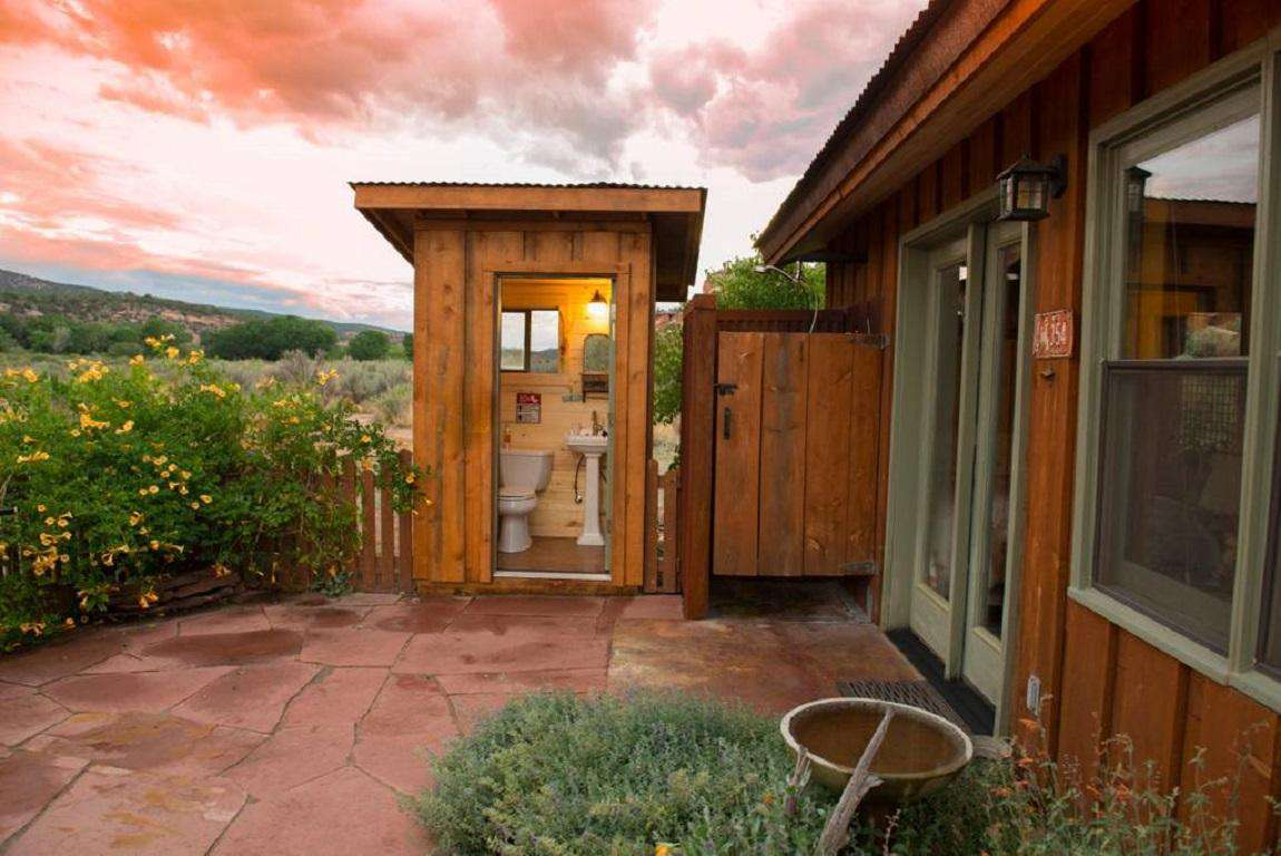 Newly enclosed private outdoor bathroom and shower.