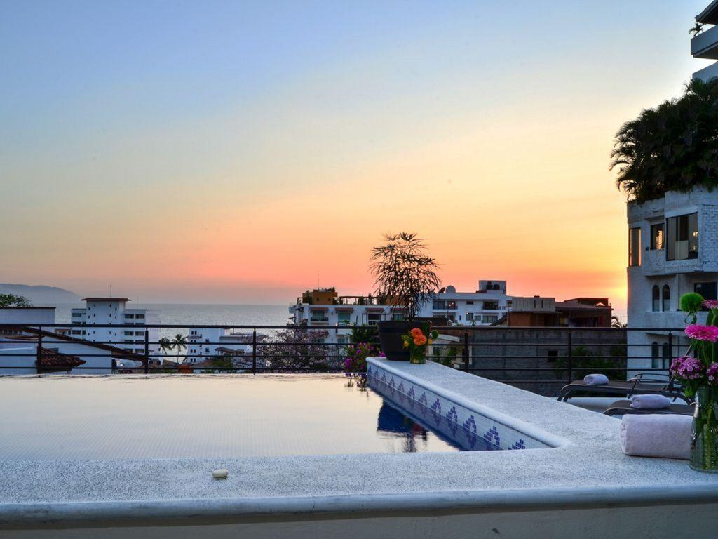 Sunset on the pool deck