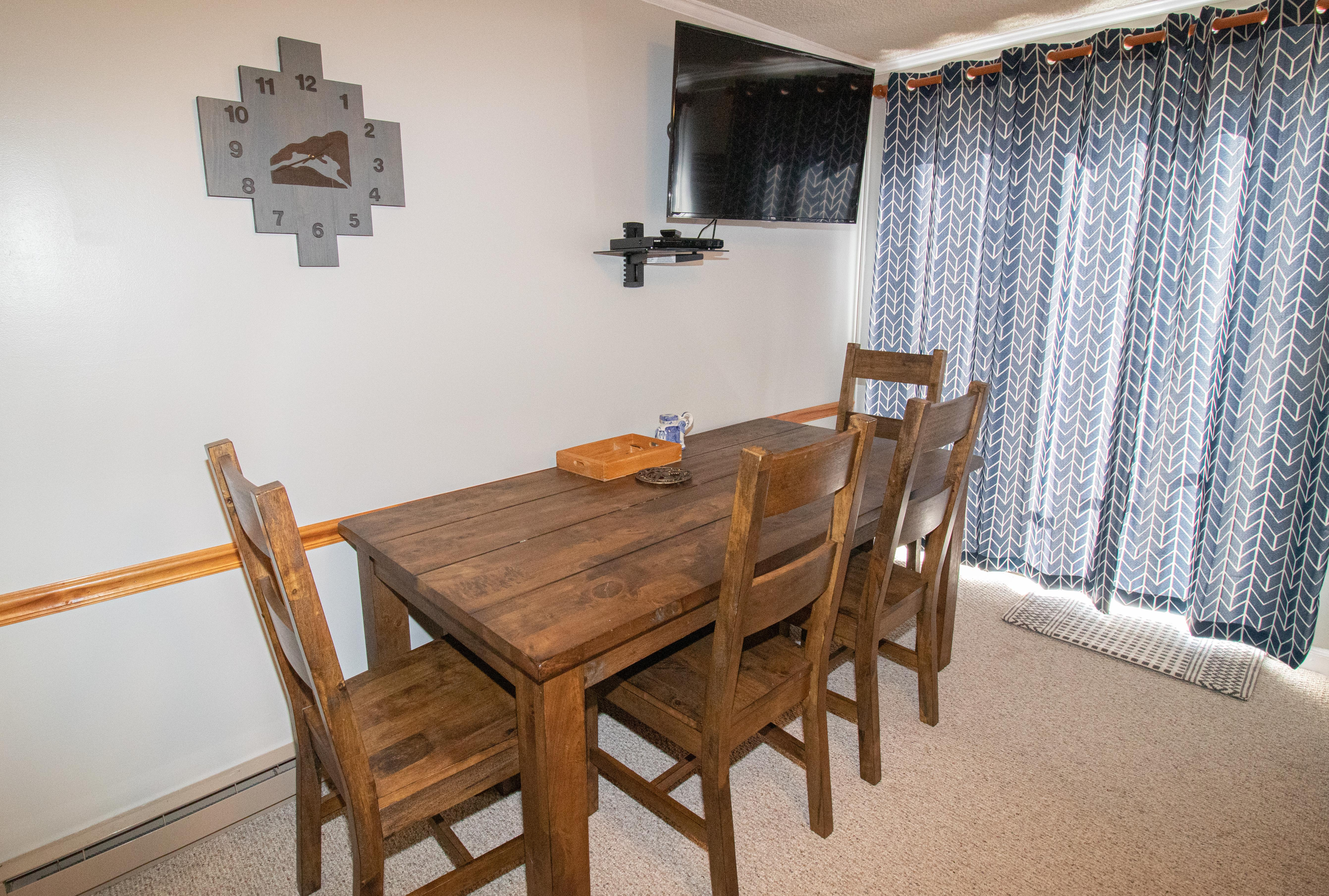 Seating for four (4) guests on brand new kitchen table (January 2019)