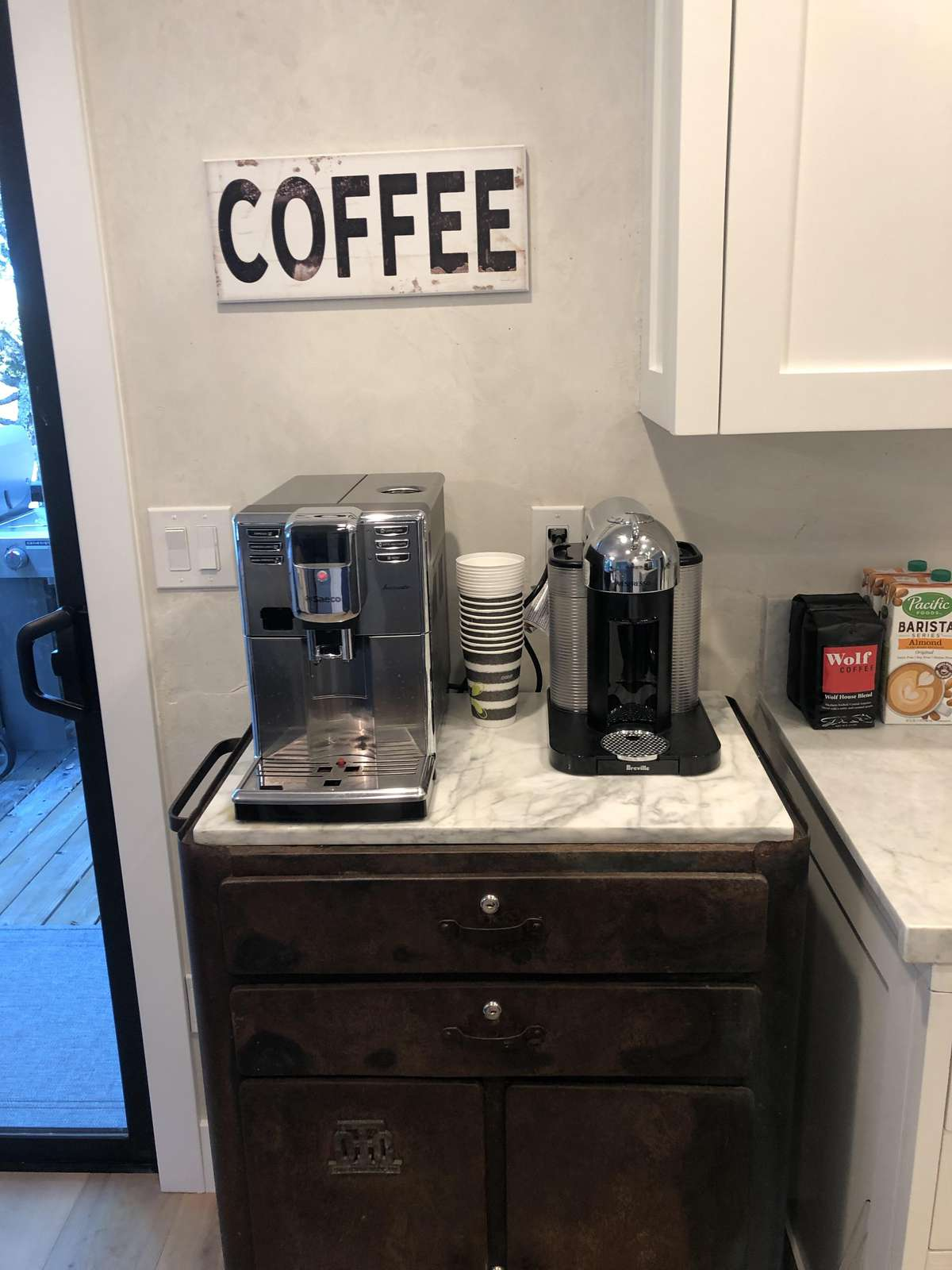 Coffee Bar with Saeco Automatic Coffee System and Nespresso Vertuo