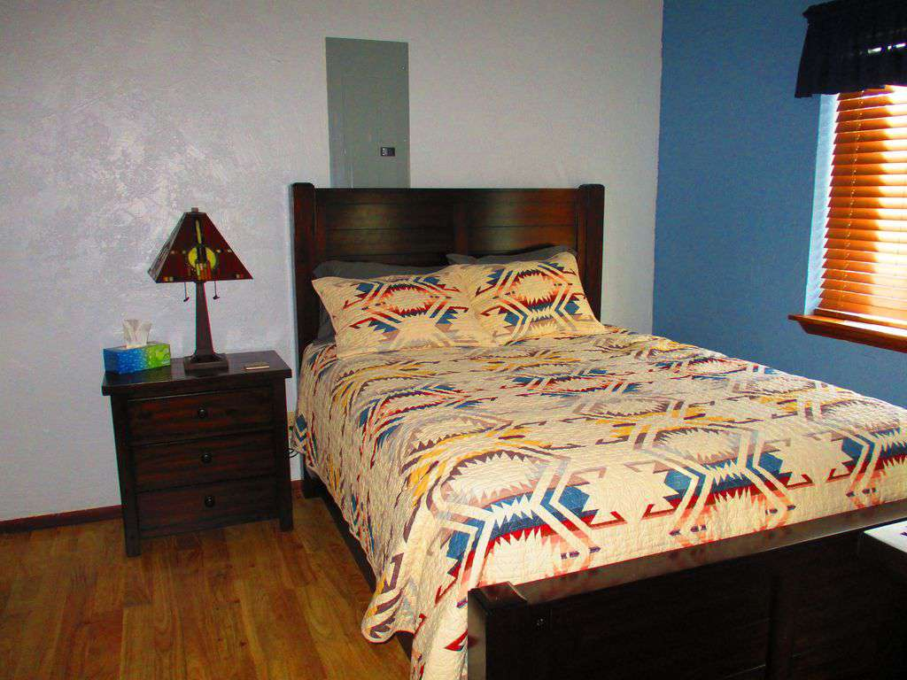 Bedroom downstairs with Pendleton Quilt