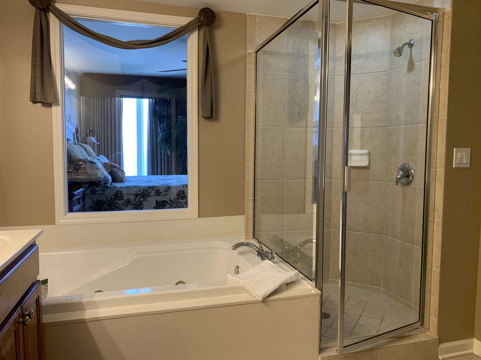 Master bathroom with Roman tub and shower