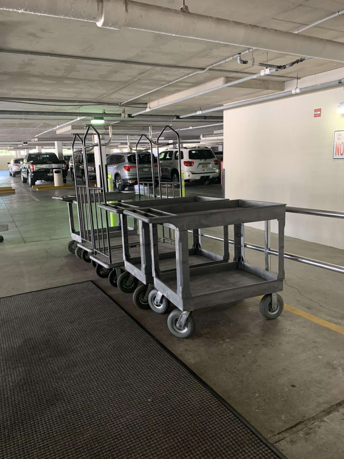 Covered parking with trolleys for easy luggage transfer