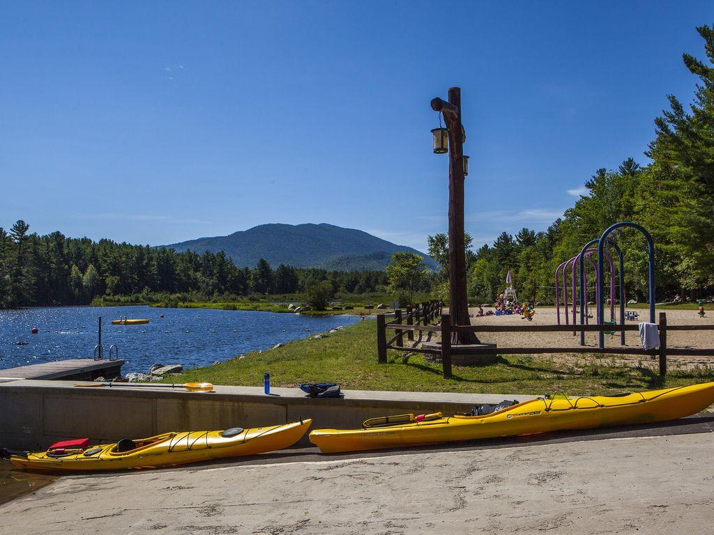 Two kayaks available, beach has a non motorized boat launch.