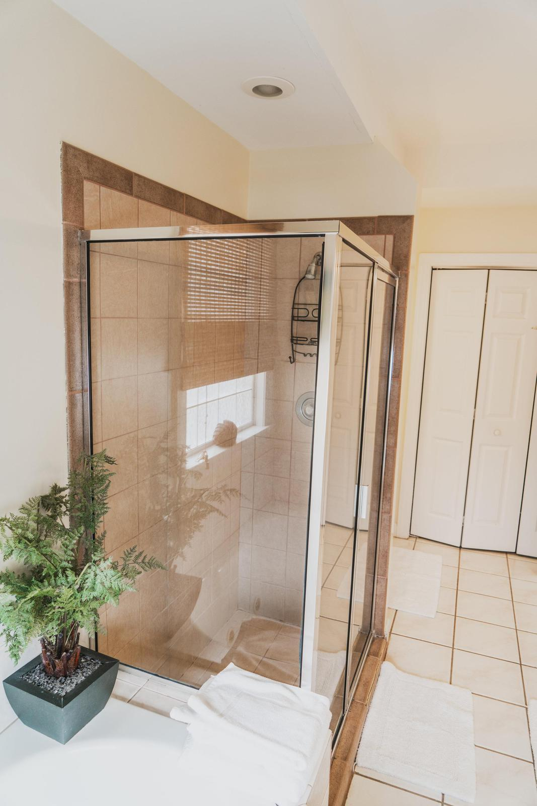 separate shower in master bath