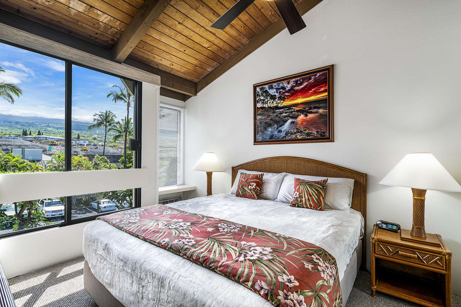 Master bedroom on main level has a Cal King bed.