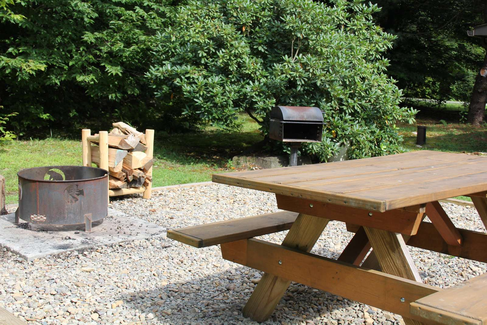 Picnic Table, Charcoal Grill, Firepit