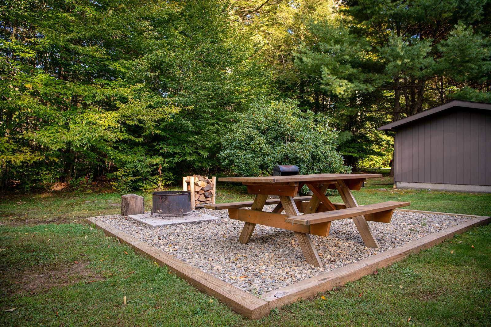 Picnic Area with Fire Pit and Charcoal Grill