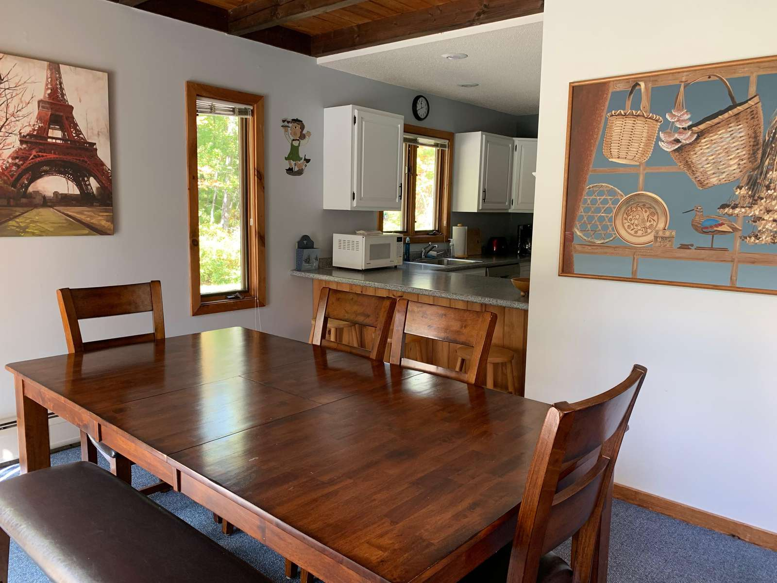 Beautiful new farmhouse table. Gather for meals and games!