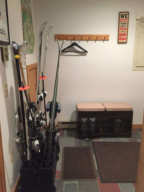 indoor ski storage in mudroom