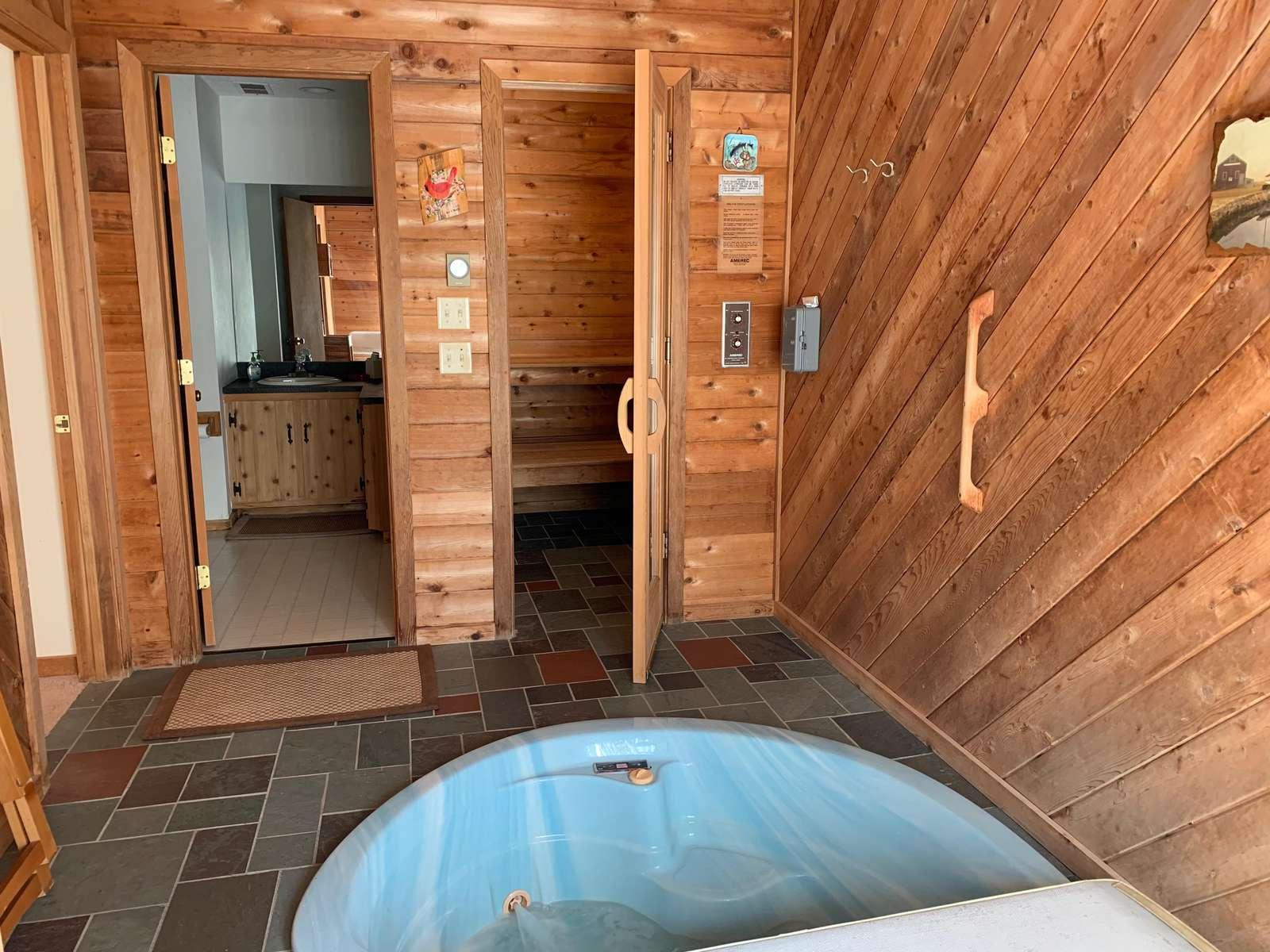 hot tub, sauna and bathroom, main floor