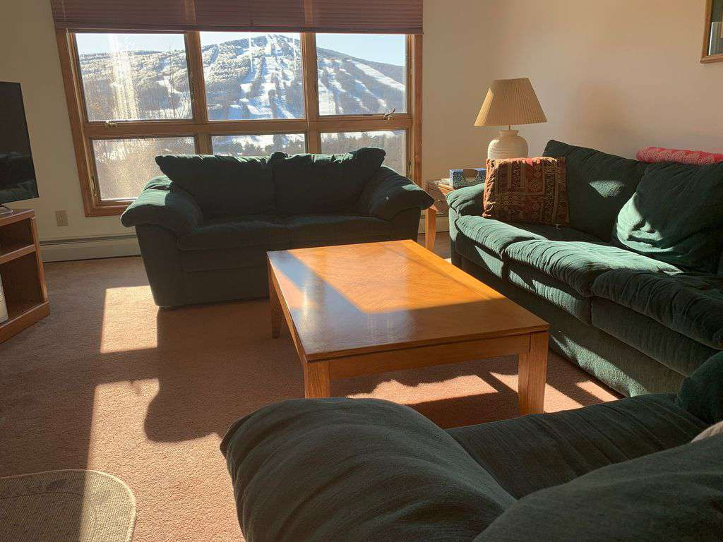 Views of Mount Snow from every room: a perfect place to relax after a big ski day.