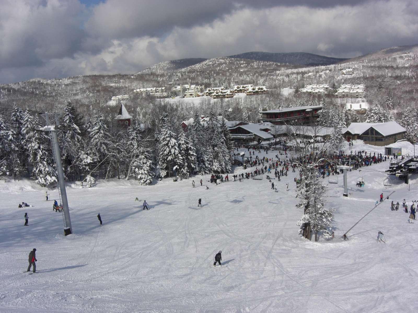 On Mount Snow.  Snow Mountain Village seen from slopes.