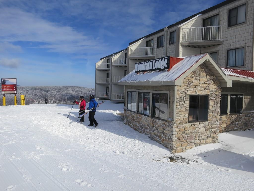 Walk out the back door of Mountain Lodge and you are on the slopes!