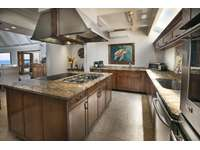 A large chef's kitchen with granite countertops and stainless-steel appliances thumb