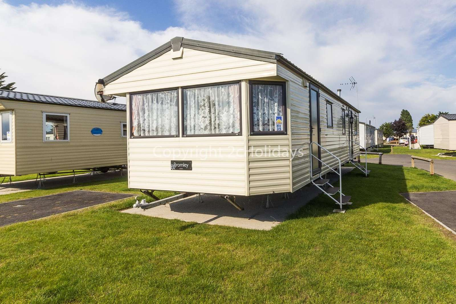 On a fantastic holiday park with great amenities and the beach nearby.