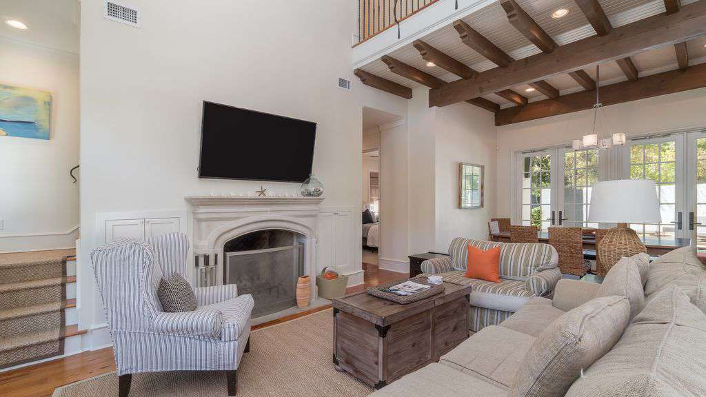 Living Room Features an HDTV and Fireplace