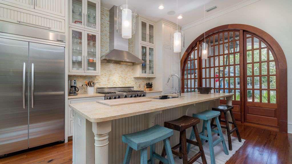 "Gourmet Kitchen with 48"" Viking Range and Island Bar"