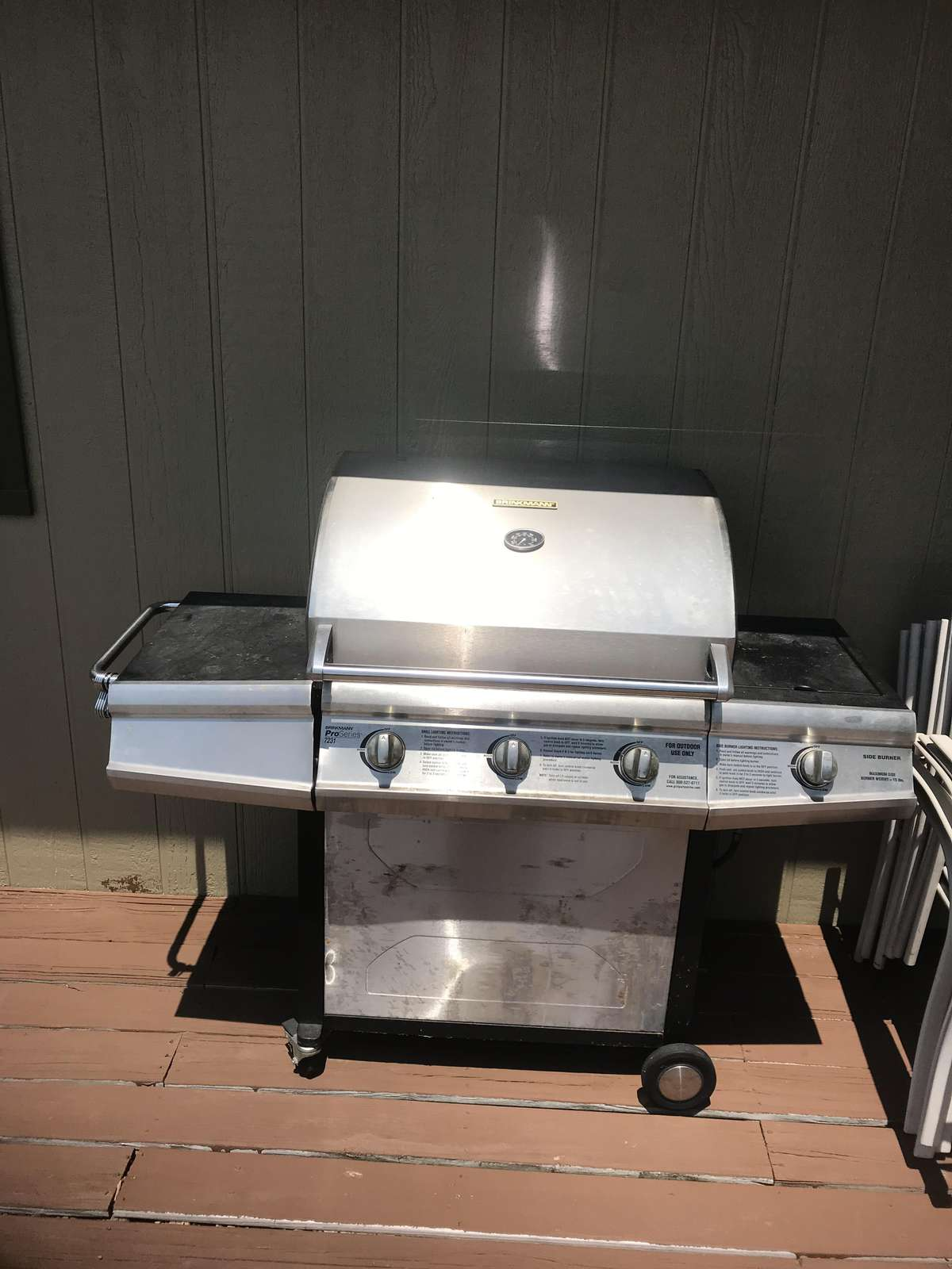 Large gas grill, propane provided.