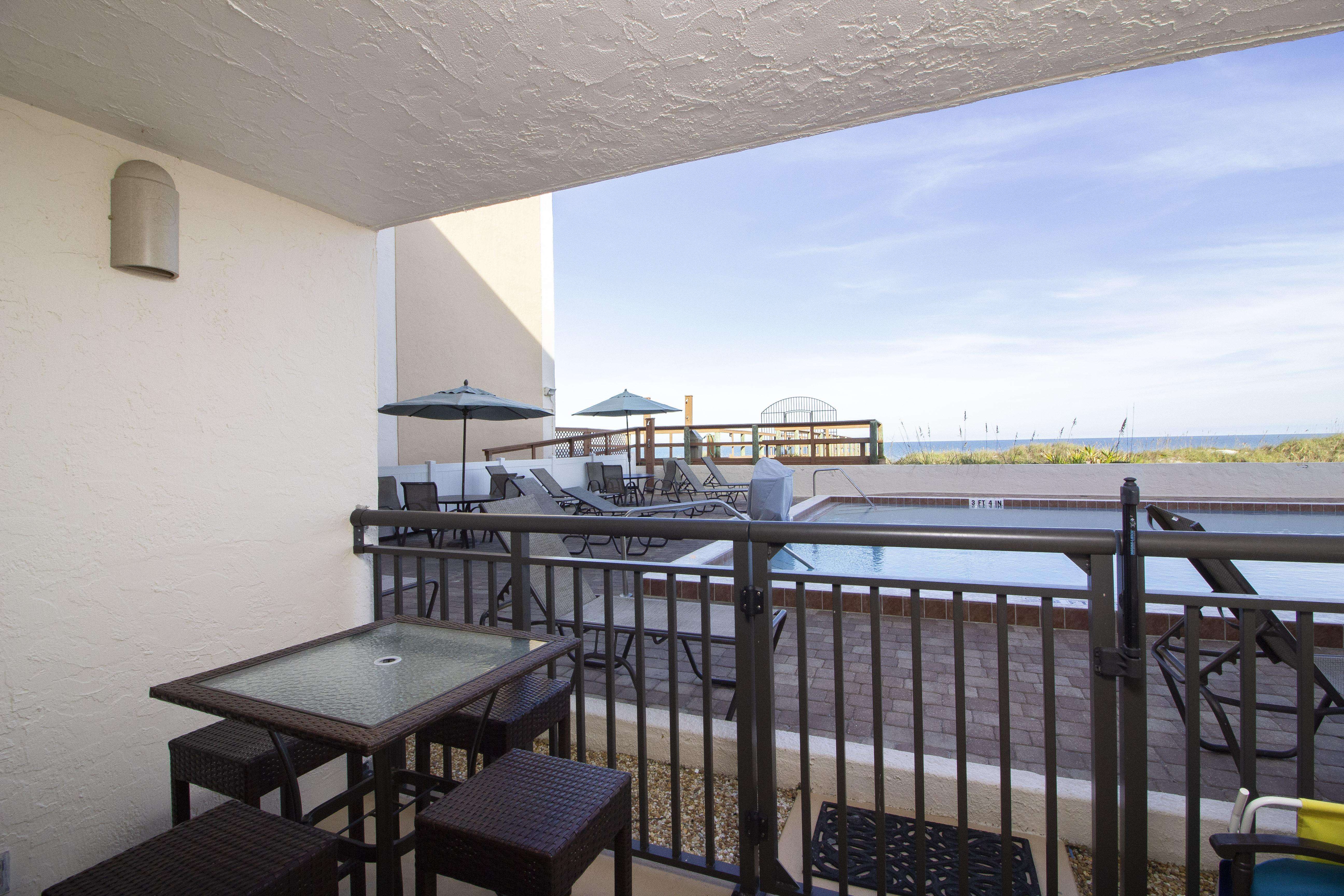 Private Balcony leading to Pool and Beach!
