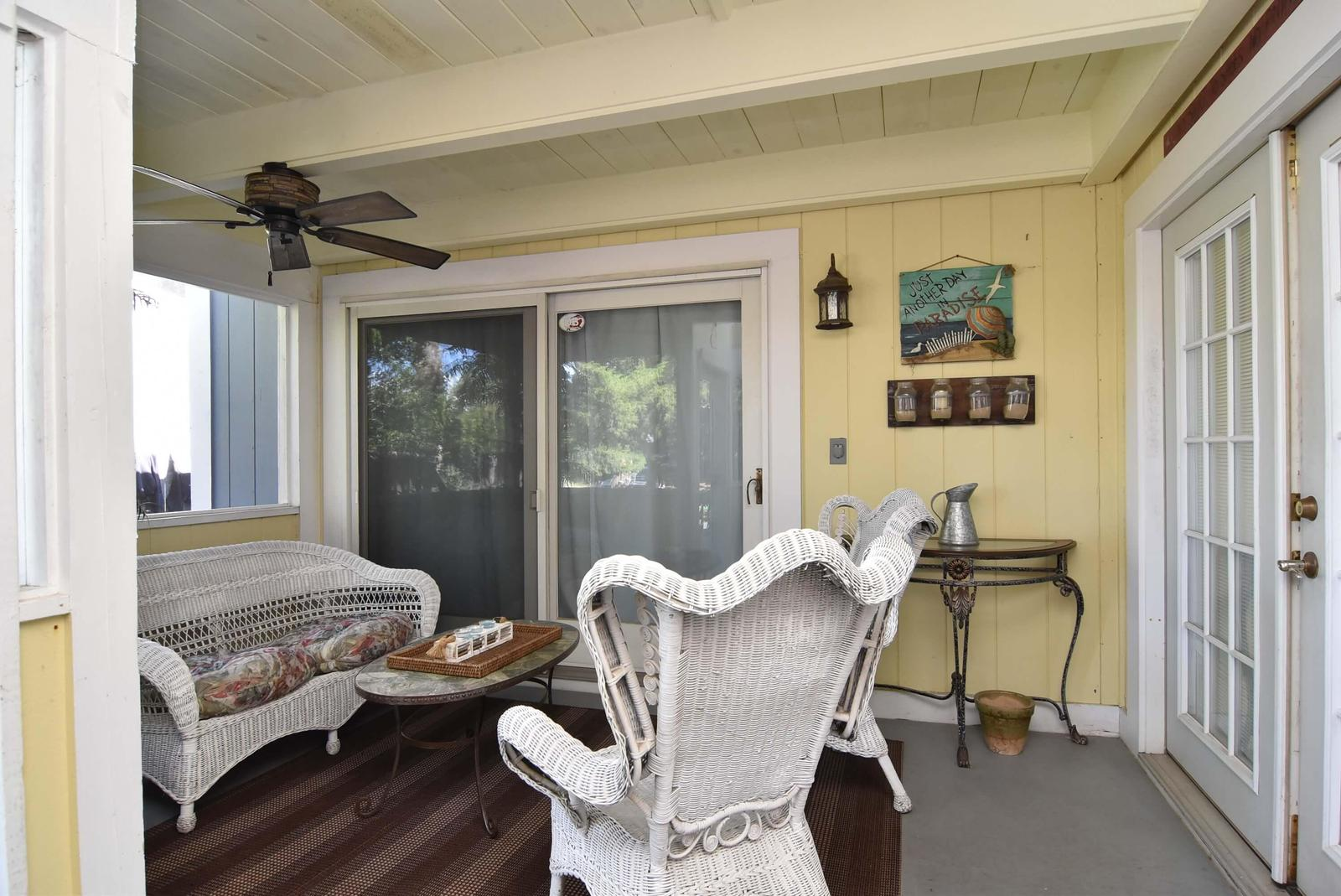 Several seating areas on the porch allow for great visiting with family and friends!