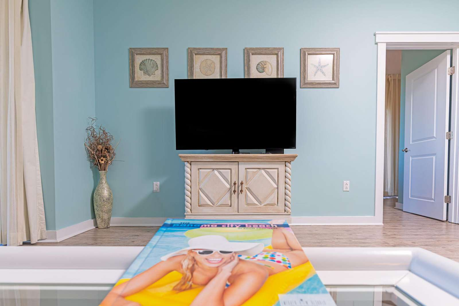 Oversized flat smart TV with free cable!