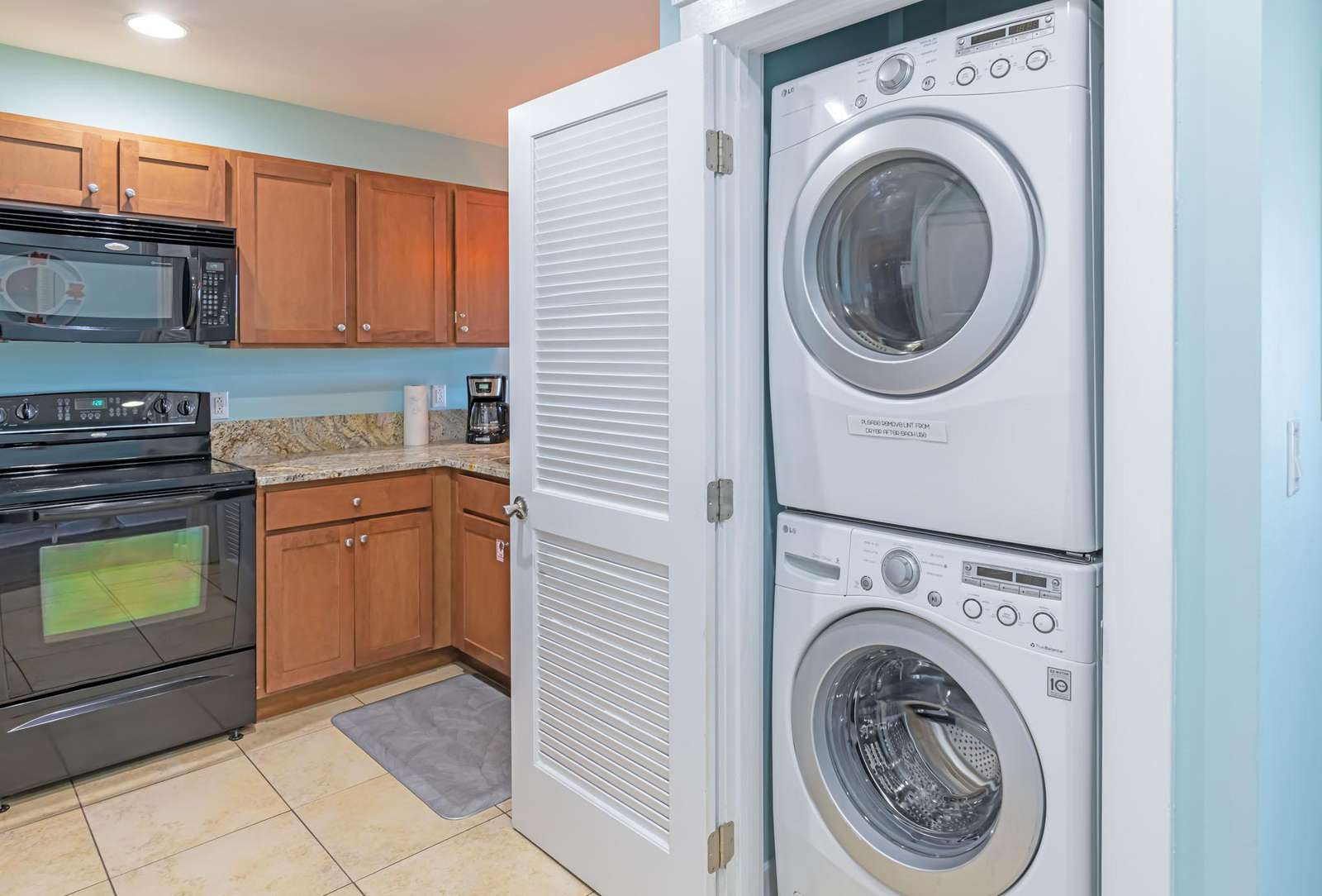 Large capacity stacked washer and dryer for your use!