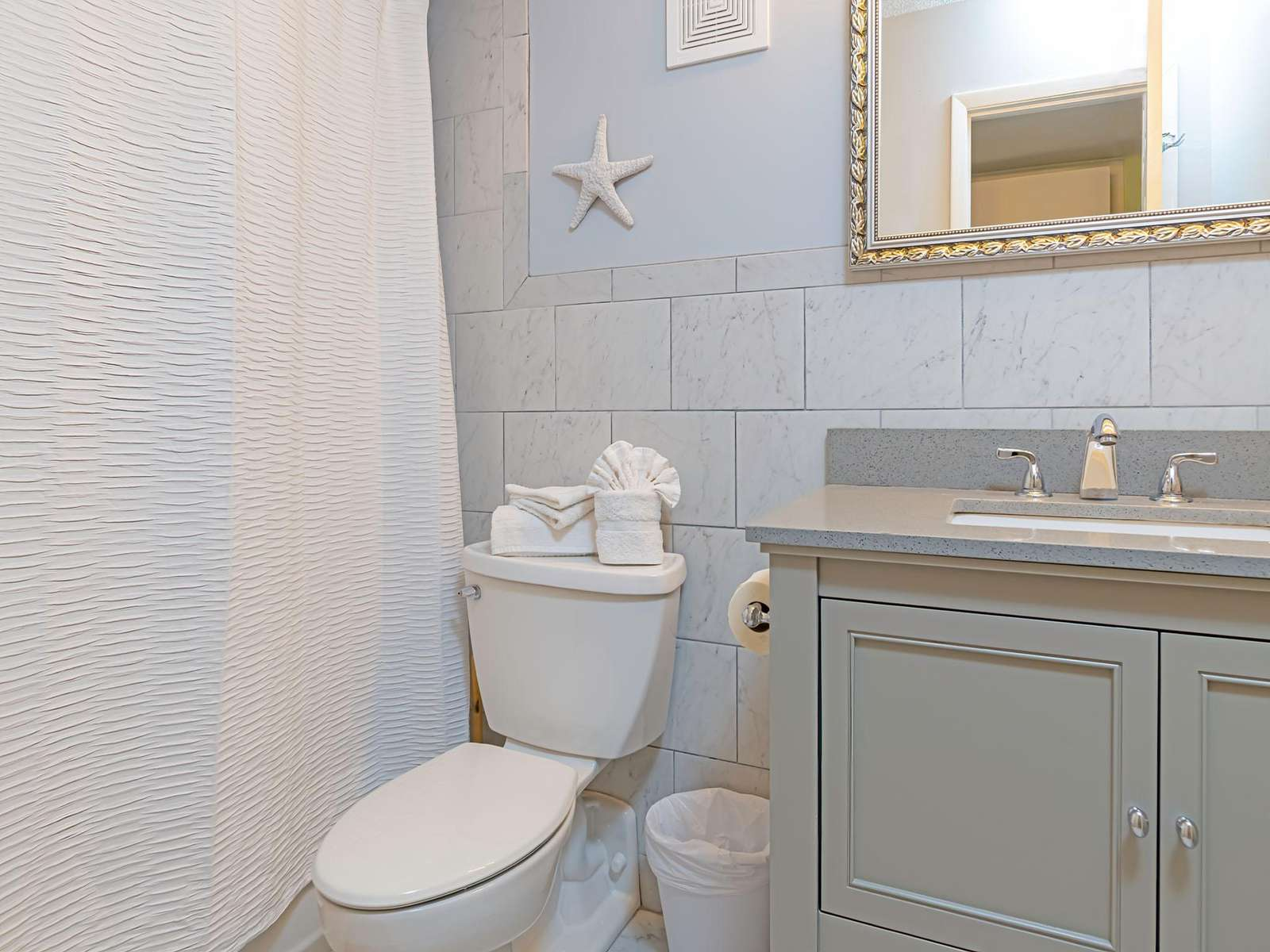 Newly renovated guest bath! Stocked with basic linen!