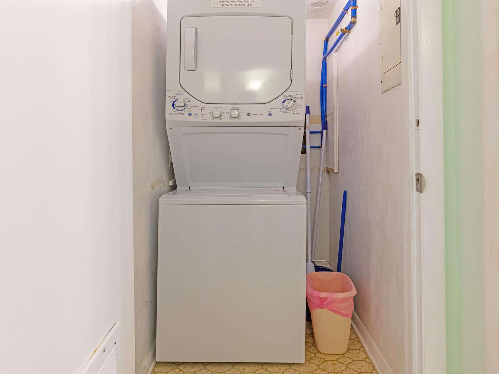 Large stackable washer/dryer combo for your use!