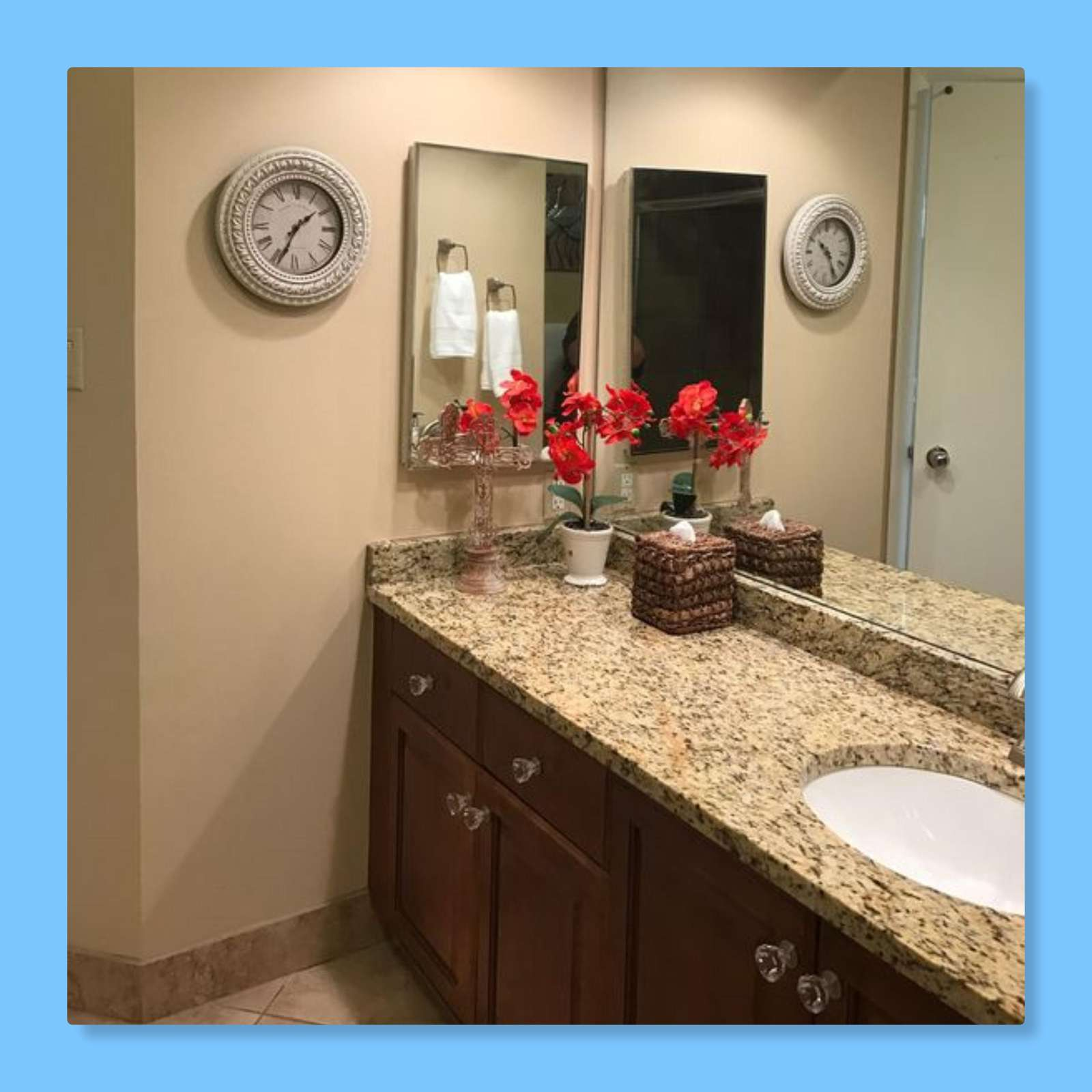 The master bathroom features a large walk in shower.
