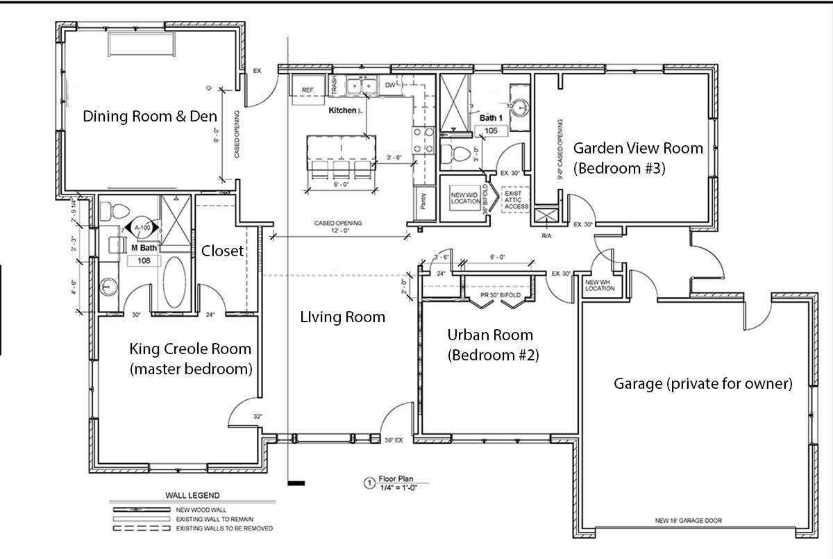 Floor plan showing 3 bedrooms & 2 bathrooms