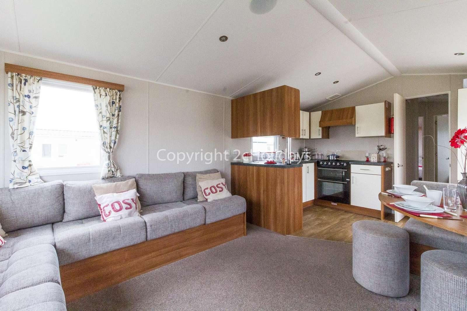 Modern and open plan living/dining area and kitchen