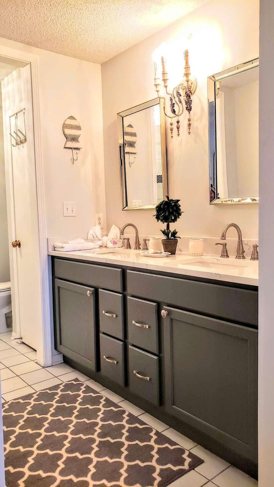 Beautifully appointed double sink vanity in Master Bath plus large walk-in closet