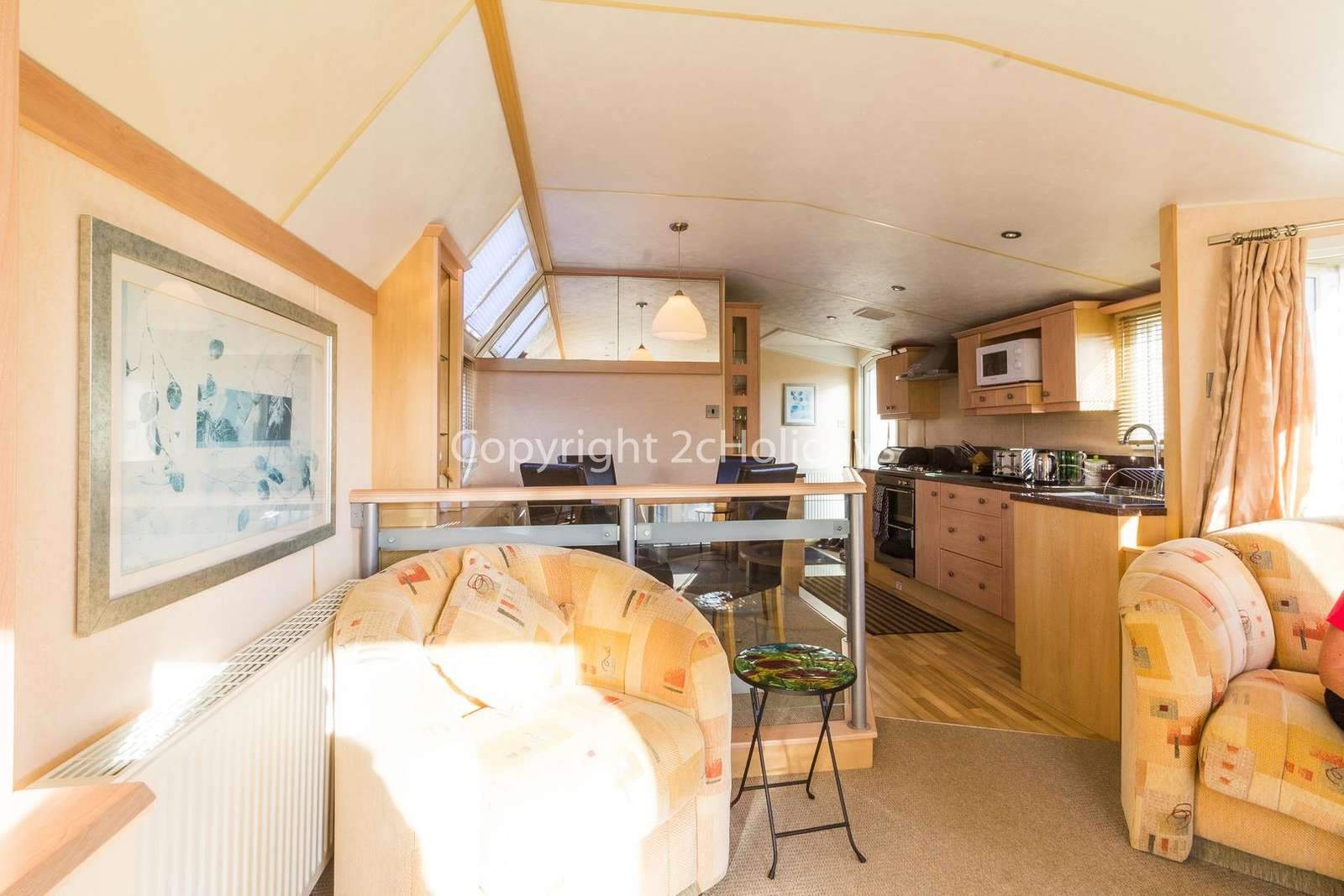 Spacious and open plan living/dining area leading to the kitchen