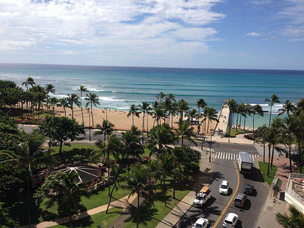 Waikiki Beach and the pier from our rooftop sundeck