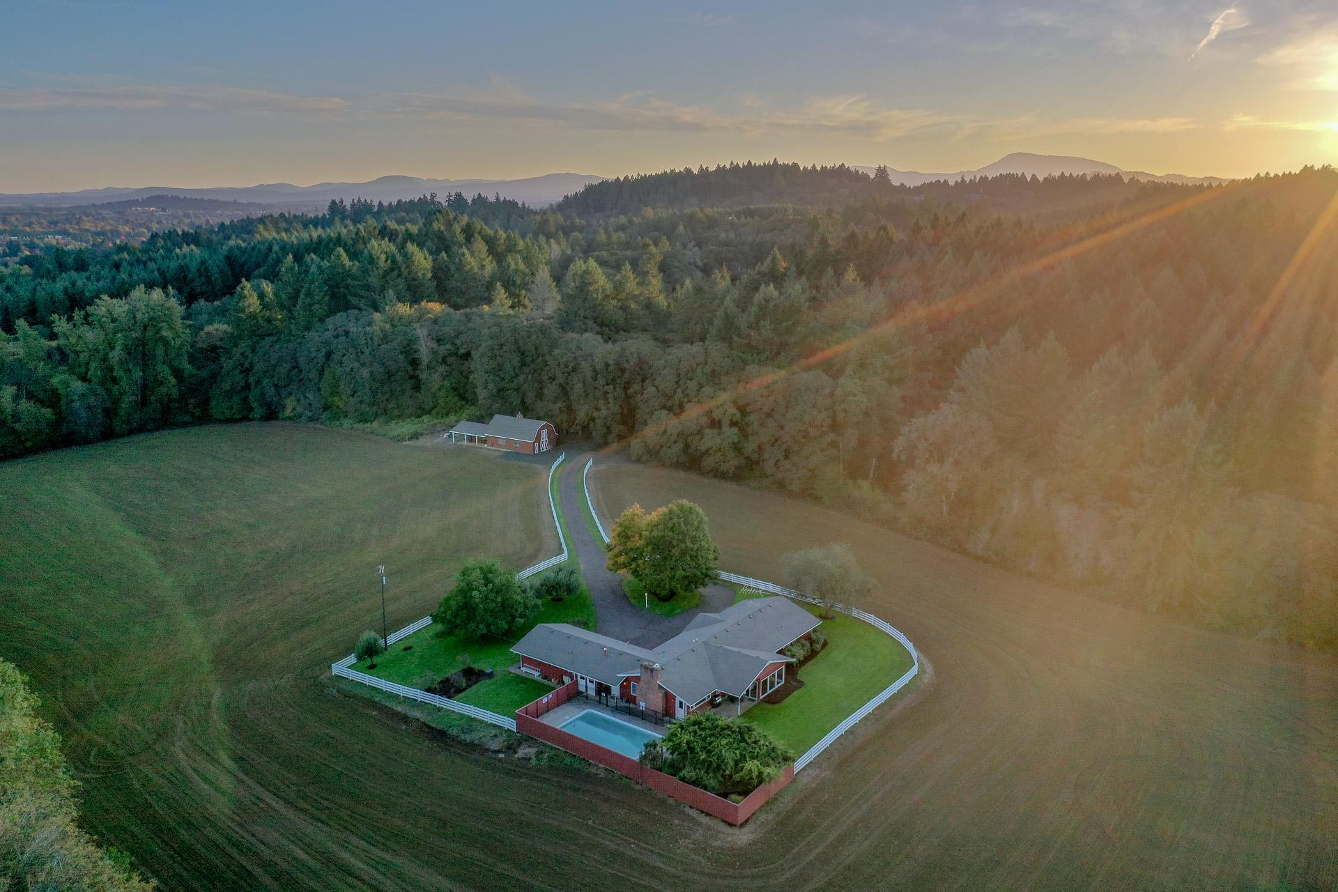 Highland Acres Aerial View of the Barn