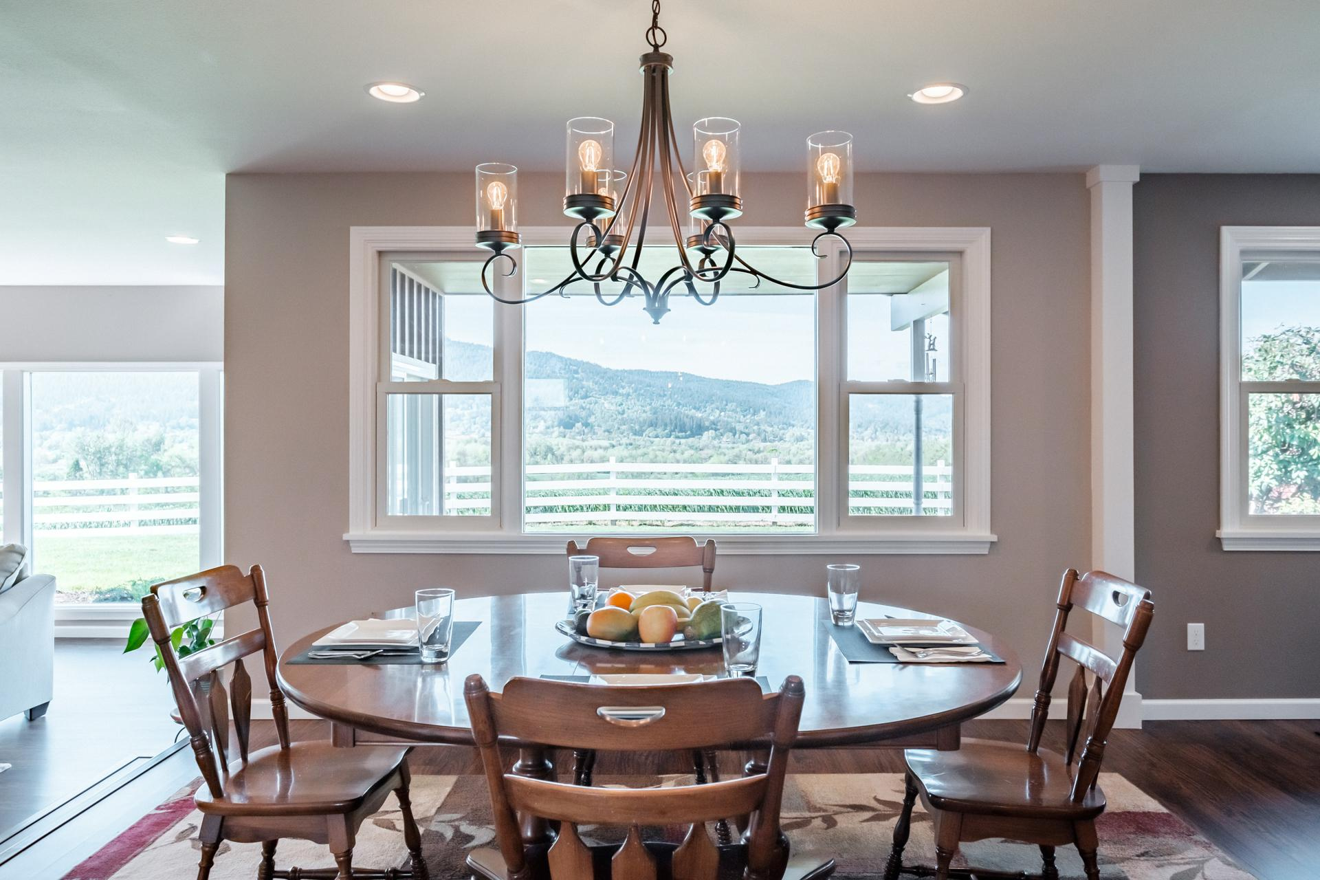 Sit down for a meal and enjoy the view of Vineyard Mountain