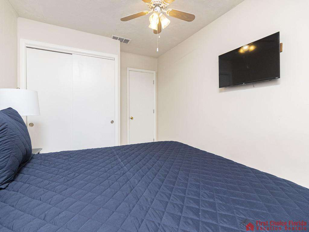 Deja Blue Bed with Wall Mounted TV