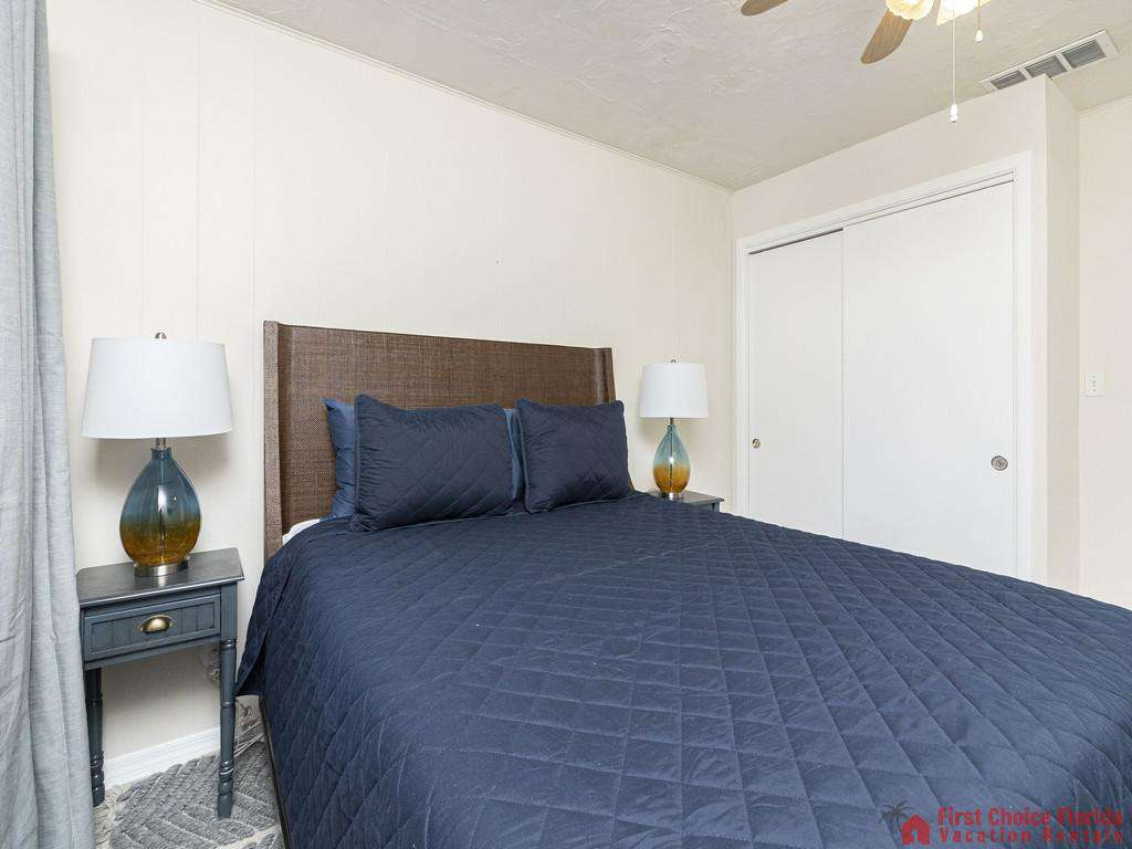 Deja Blue Bed with Nightstands at Closet