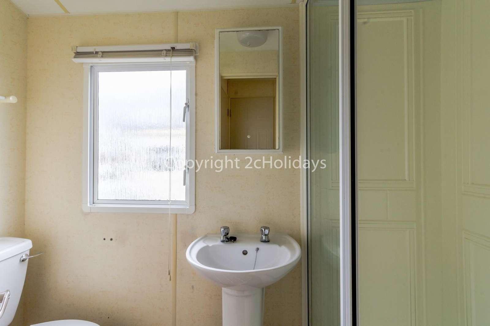 Great size family washroom!