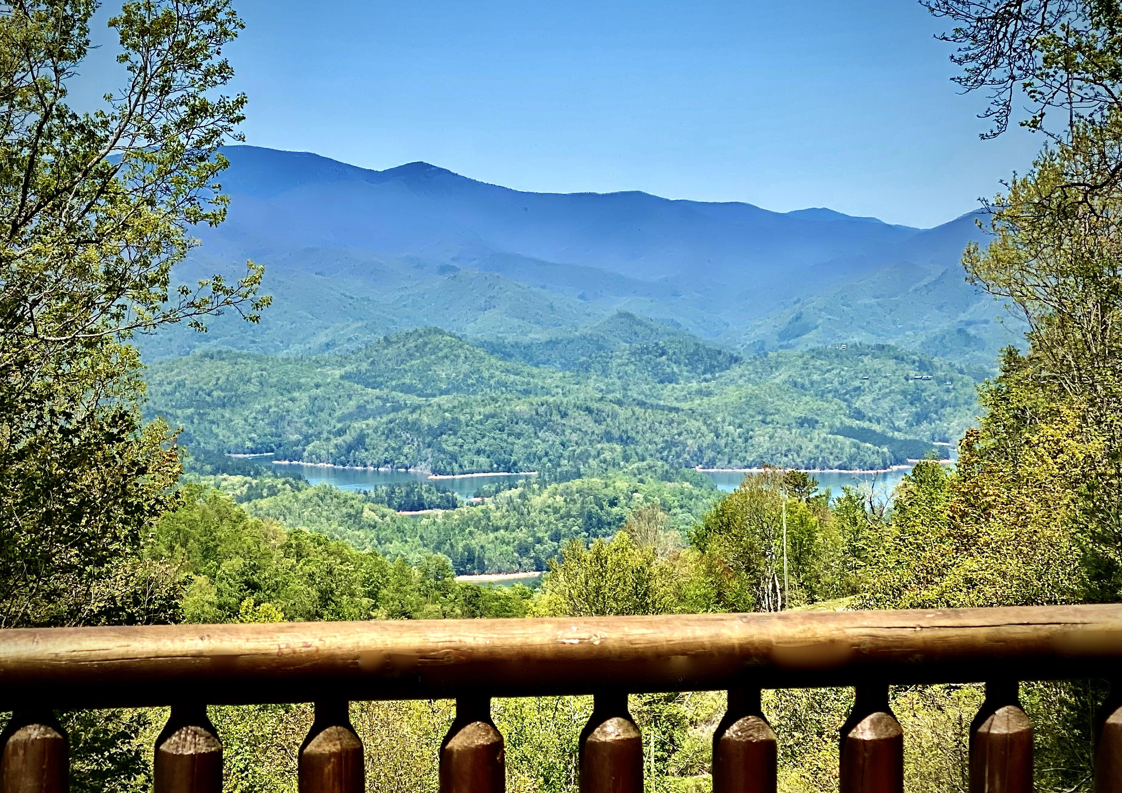 Looking from the Deck out to Lake Fontana and the Smoky Mountains beyond